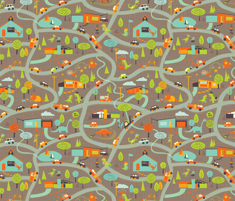 Hero-saurus Town (dirt) fabric by jennartdesigns on Spoonflower - custom fabric