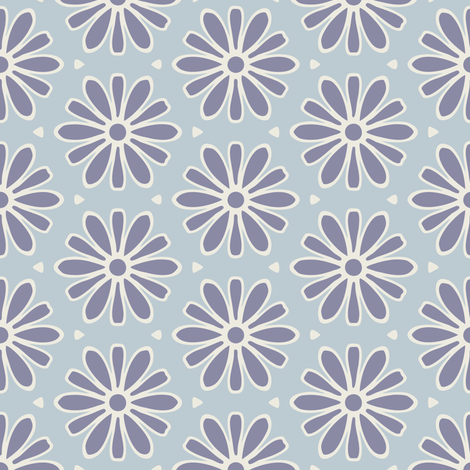 Dark Blue Daisies fabric by jumeaux on Spoonflower - custom fabric