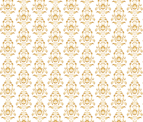 Crowned Skull-Gold fabric by happyhappymeowmeow on Spoonflower - custom fabric