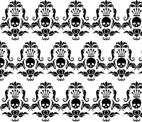 Crowned Skull-Black fabric by happyhappymeowmeow on Spoonflower - custom fabric