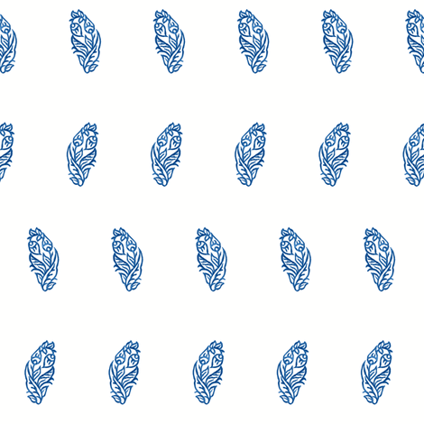 Curled Blossom Indigo fabric by frocklove on Spoonflower - custom fabric