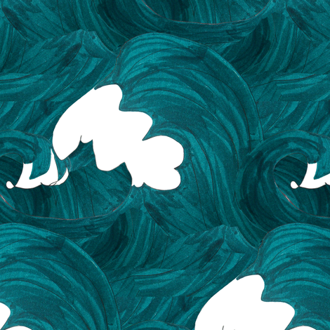 Waves fabric by pond_ripple on Spoonflower - custom fabric