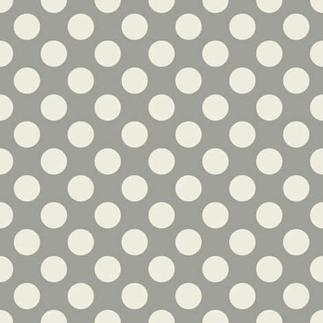 Cream Polka Dots on Gray fabric by jumeaux on Spoonflower - custom fabric