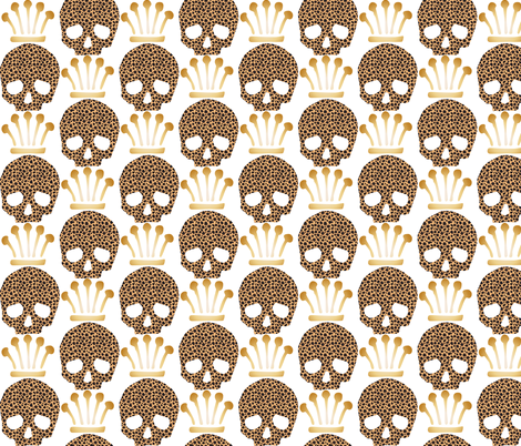 Skull & Crown-Cheetah fabric by happyhappymeowmeow on Spoonflower - custom fabric