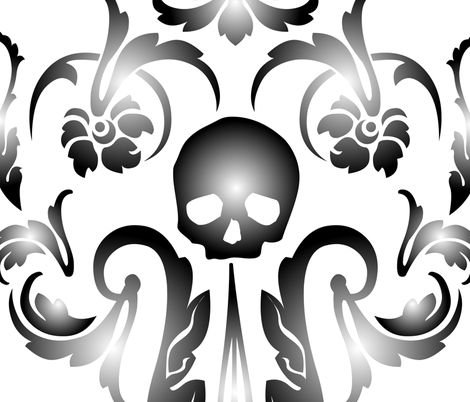 Skull-Demask Wall Decal fabric by happyhappymeowmeow on Spoonflower - custom fabric