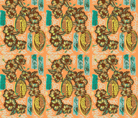 Honiara Hibiscus in coral sea fabric by sophista-tiki on Spoonflower - custom fabric