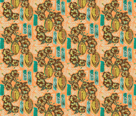 Honiara Hibiscus in coral sea fabric by sophista-tiki_by_dawn_frasier on Spoonflower - custom fabric