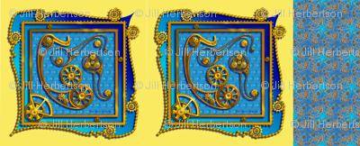 steampunk paisley blue 22x22 scarf
