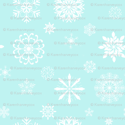 Snowflakes on aqua