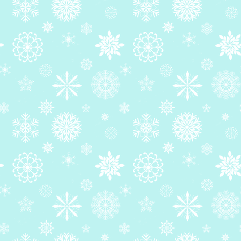 Snowflakes on aqua fabric by karenharveycox on Spoonflower - custom fabric
