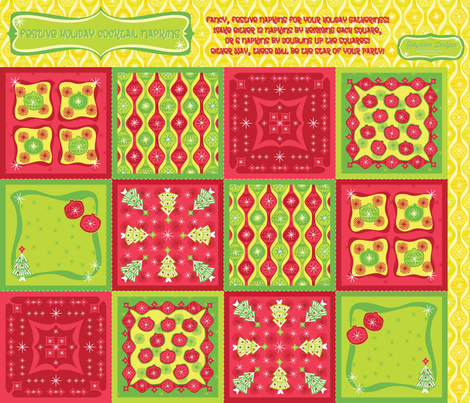 Festive Holiday Cocktail Napkins fabric by robyriker on Spoonflower - custom fabric
