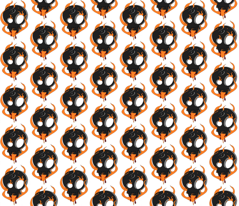 flamage_skull fabric by miss_jo_di_o on Spoonflower - custom fabric