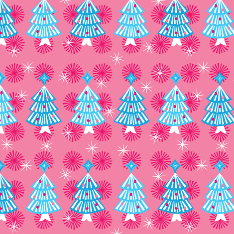 Blue Pop Trees fabric by robyriker on Spoonflower - custom fabric