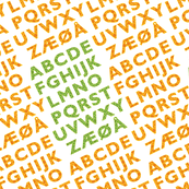 Alphabet in orange and green