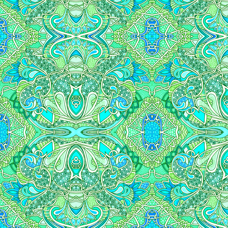 Aqua Heart Vine Paisley fabric by edsel2084 on Spoonflower - custom fabric