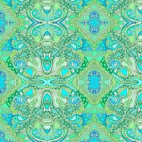 Aqua Heart Vine Paisley