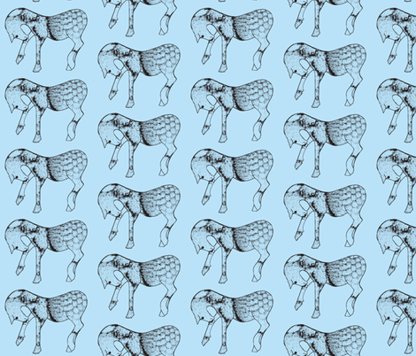 Steed in blue fabric by suebee on Spoonflower - custom fabric