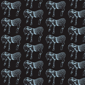 Horses in Black and Blue