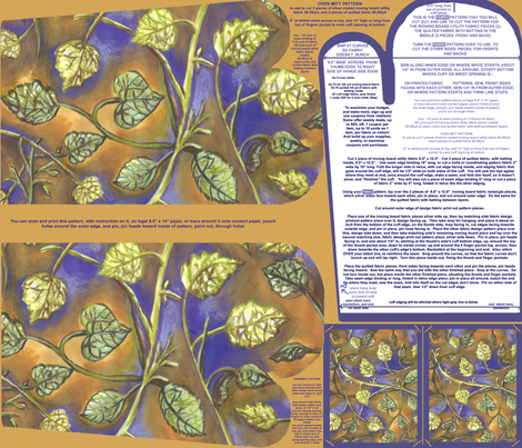 Berry Leaves Oven Mitt Pattern With Instruction Piece Pattern and Ornament Pattern on Fat Quarter by Kristie Hubler fabric by fabricatedframes on Spoonflower - custom fabric