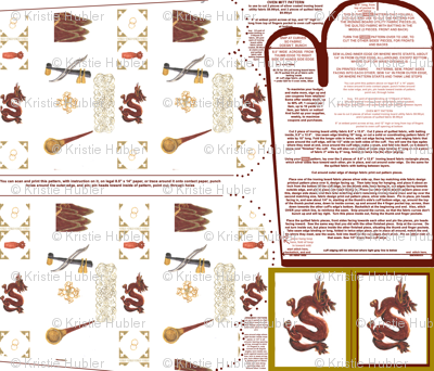 Chinese Favorites Oven Mitt Pattern with Instructions Piece Pattern and Ornament Pattern on Fat Quarter by Kristie Hubler