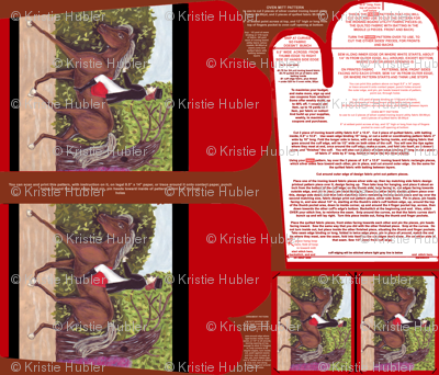 Dressage Horse Equestrian Oven Mitt Pattern plus Instructions Piece Pattern and Ornament Pattern on Fat Quarter by Kristie Hubler