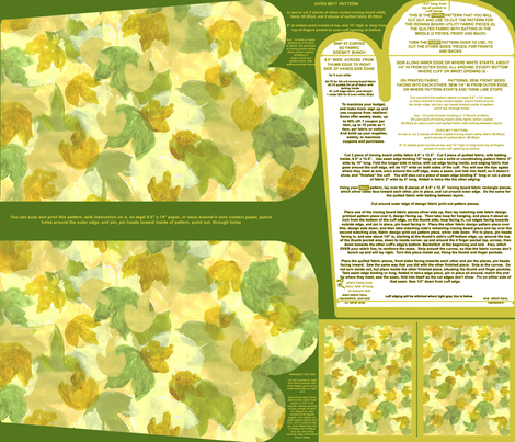 Leafy Background Bright Oven Mitt Pattern plus Instructions Piece Pattern and Ornament Pattern on Fat Quarter by Kristie Hubler fabric by fabricatedframes on Spoonflower - custom fabric
