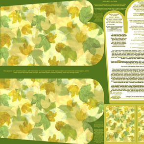 Leafy Background Bright Oven Mitt Pattern plus Instructions Piece Pattern and Ornament Pattern on Fat Quarter by Kristie Hubler