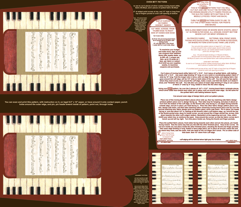 Piano With My Song Oven Mitt Pattern and Ornament Pattern plus Instructions Piece Pattern on Fat Quarter by Kristie Hubler