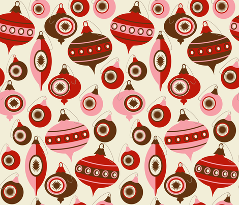Vintage Christmas Ornaments ~ peppermint & bark fabric by retrorudolphs on Spoonflower - custom fabric