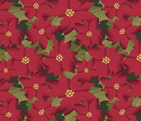 Poinsettia on green fabric by kociara on Spoonflower - custom fabric