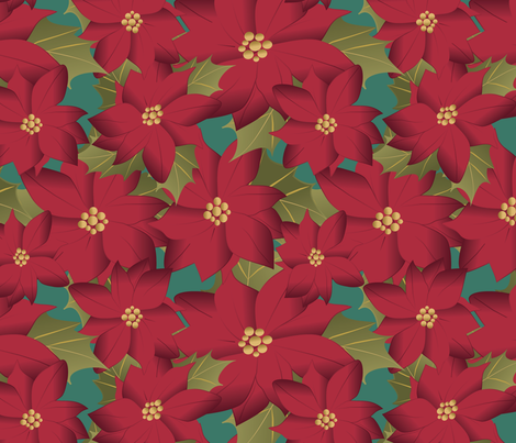 Poinsettia on teal fabric by kociara on Spoonflower - custom fabric