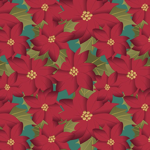 Poinsettia on teal