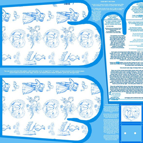 Aqua Blue Toile Oven Mitt Pattern with Ornament Pattern plus Instructions on Piece Pattern Fat Quarter by Kristie Hubler