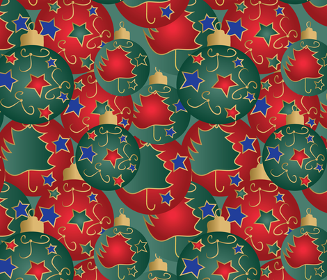 Christmas baubles on green fabric by kociara on Spoonflower - custom fabric