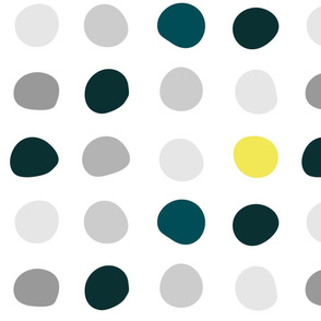 Color Dots - grey, teal, yellow