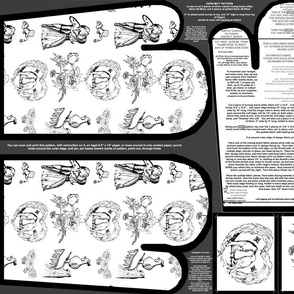 Black Toile Oven Mitt Pattern and Ornament Pattern plus Instruction on Piece Pattern on Fat Quarter by Kristie Hubler