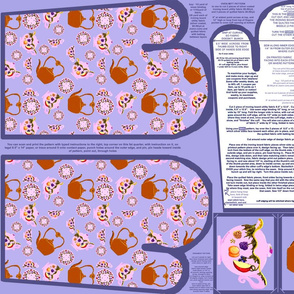 Tea Time Oven Mitt Pattern and Ornament Pattern plus Instructions on Piece Pattern on Fat Quarter by Kristie Hubler