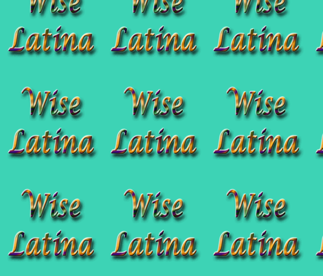 Wise Latina aqua fabric by technorican on Spoonflower - custom fabric