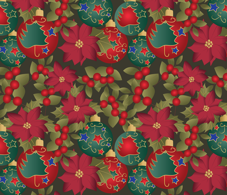 Christmas mix on green fabric by kociara on Spoonflower - custom fabric