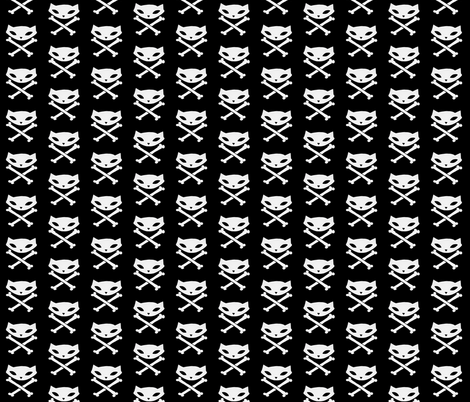 Skelekitty Crossbones Black fabric by skelekitty on Spoonflower - custom fabric