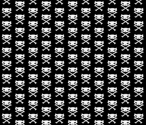 Skelekitty Crossbones Black fabric by skelekitty on Spoonflower - custom fabric