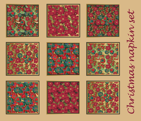 Christmas napkin set fabric by kociara on Spoonflower - custom fabric