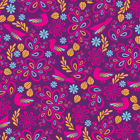 Feathered Friends (Purple) fabric by robyriker on Spoonflower - custom fabric