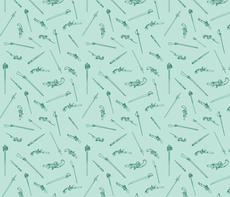 historical weapons spread teal fabric by ninniku on Spoonflower - custom fabric