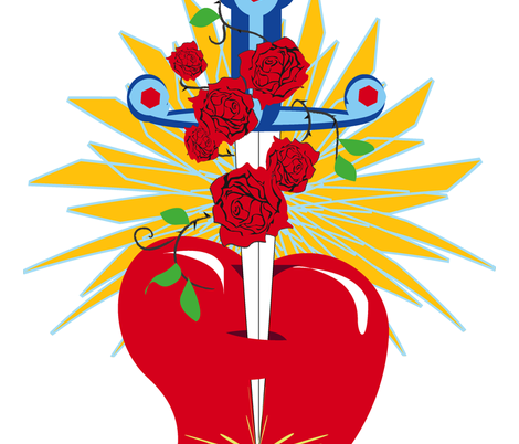 Rosicrucian Sacred Heart fabric by happyhappymeowmeow on Spoonflower - custom fabric