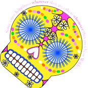 "Sugar Skull- Some cause happiness wherever they go, others whenever they go.""-Oscar Wilde"