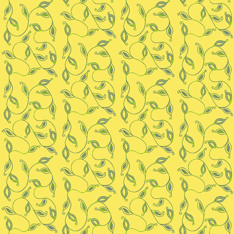 fancy_leaves-yellow fabric by kerryn on Spoonflower - custom fabric