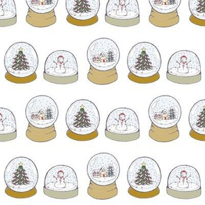 christmas snowglobes white