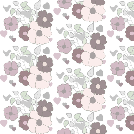 subtle flowers and hearts fabric by rcm-designs on Spoonflower - custom fabric
