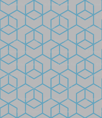 Hexagon Trellis - blue on grey